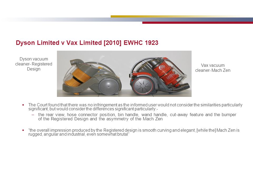 Dyson Limited v Vax Limited [2010] EWHC 1923